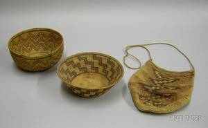Two Native American style Craft Baskets and a South American Twine Bag