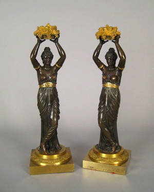 Pair of French gilt and patinated bronze figures late 19th c