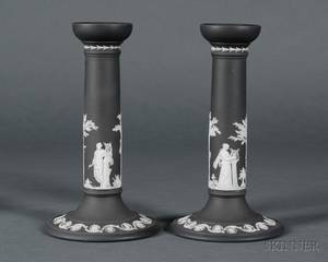 Pair of Wedgwood Black Jasper Dip Candlesticks