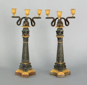 Pair of French bronze and ormolu three arm candelabra late 19th c