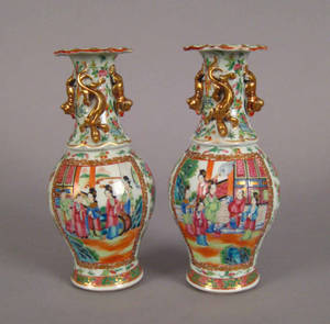 Pair of Chinese export porcelain famille rose vases 19th c