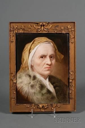 Austrian Painted Porcelain Plaque of an Old Woman