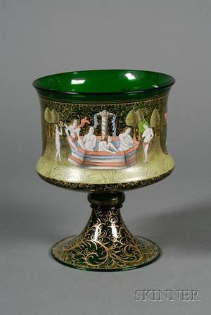 Venetian Enameled Green Glass Bowl after the Barovier Marriage Cup