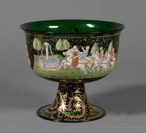Venetian Enameled Green Glass Bowl after the Barovier Wedding Cup