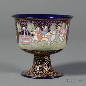 Venetian Enamel Decorated Cobalt Blue Glass Coupe after the Barovier Wedding Cup