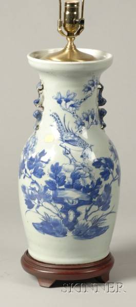 Blue and White Chinese Porcelain Vasiform Lamp