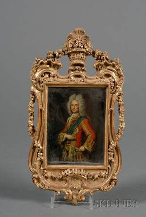 Giltwood Framed English Reversepainted Lithograph on Glass