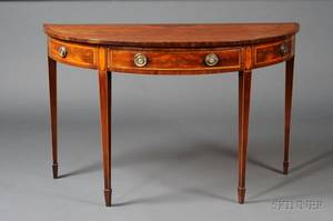 George III Inlaid Mahogany Demilune Side Table