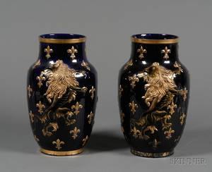 Pair of Luneville Faience Cobalt Blue Vases
