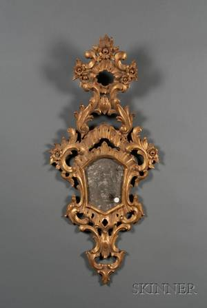 Pair of Louis XVIstyle Giltwood Mirrors