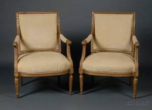 Pair of Louis XVI Style Giltwood Fauteuils a la Reine