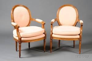 Pair of Louis XVI Style Fauteuils en Cabriolet