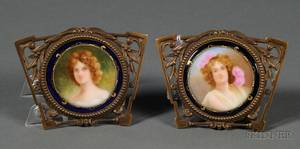 Pair of Small Continental Porcelain and Gilt Metal Mounted Medallions
