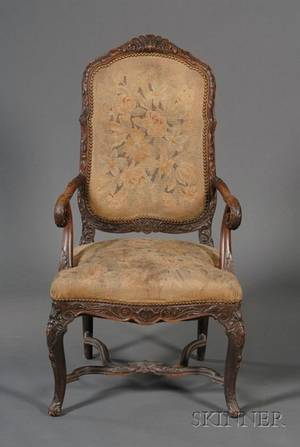 Regencestyle Tapestry Upholstered and Carved Open Armchair