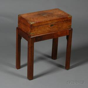 British Brassbound Mahogany Lap Desk on Stand