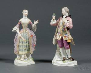 Pair of Meissen Porcelain Figures of a Lady and Gentleman