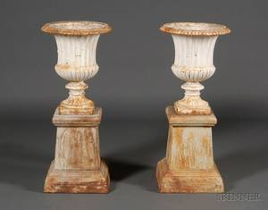 Pair of Victorian White Painted Cast Iron Urns on Later Pedestals