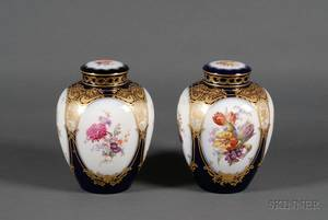 Pair of KPM Painted Porcelain Covered Jars