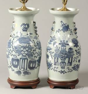 Harlequin Pair of Blue and White Chinese Porcelain Vasiform Lamps