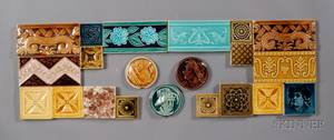 Thirtyfour Decorated Tiles Various Makers