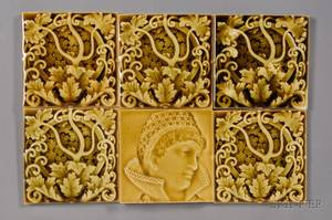 Six Decorated Tiles Trent Tile Company
