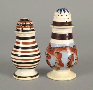 Mocha pepper pot with earthworm decoration ca 1820