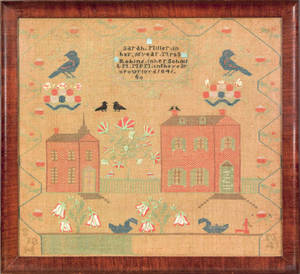American silk on linen sampler dated 1841 and wrought by Sarah Miller at Mrs Robins school