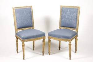 Pair of Louis XVI Style Giltwood Side Chairs