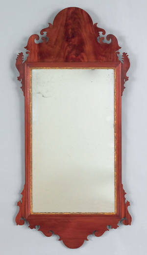 Chippendale carved mahogany hall mirror late 18th c