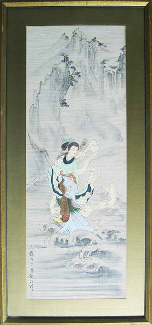 Two oriental painted silk panels
