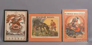Russian School 20th Century Lot of Three Russian Revolutionary Posters