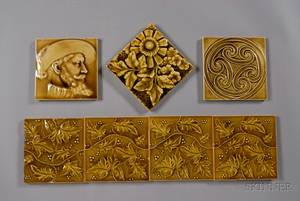 Seven Decorated Tiles Various Makers