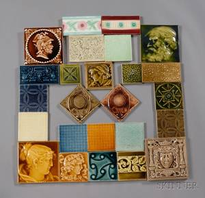 Twentyfive Decorated Tiles Various Makers