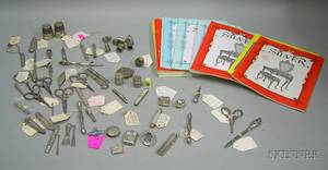 Large Group of Mostly Sterling Silver Sewing Accessories and Fourteen Issues of Silver Magazine