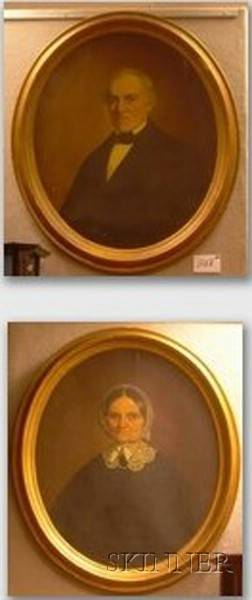 Two Framed Oil on Canvas Portraits of a Gentleman and Lady