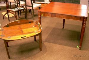 Federalstyle Mahogany and Mahogany Veneer Card Table and a Georgianstyle Mahogany Butlers Tray Table