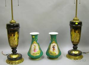 Pair of Gilt Chinoiserie Decorated Black Glass Jar Table Lamps and a Pair of French Handpainted Portrait Decor
