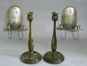 Pair of Tin TwoLight Wall Sconces and a Pair of Turned Wood Candlesticks