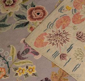 Two Floral Pattern Hooked Rugs