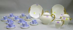 Set of Ten Mintons Transfer Blue and White Decorated Porcelain Cups and Saucers and a Fivepiece Limoges Gilt