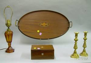 Pair of Brass Beehive Candlesticks an Inlaid Rosewood Veneer Box an Amber Glass Fluidstyle Table Lamp and a