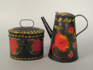 Tole coffee pot and lidded canister 19th c