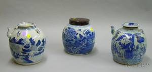 Chinese Export Porcelain Canton Blue and White Decorated Porcelain Ginger Jar and Two Teapots