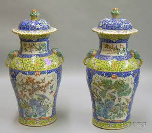Pair of Chinese Export Porcelain Vases with Covers