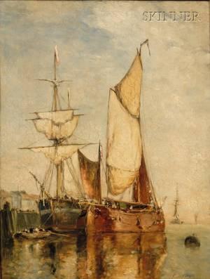 Paul Jean Clays Belgian 18171900 Sailing Vessels at Dock