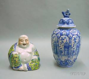 Modern Chinese Export Porcelain Seated Buddha and a Delft Blue and White Chinesestyle Decorated Ceramic Jar with Cover