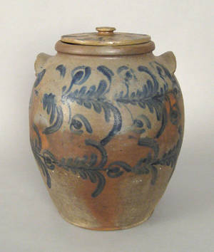 Six gallon stoneware lidded crock 19th c
