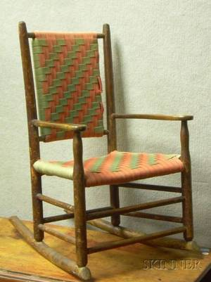 Childs Shakertype Birch Armrocker with Woven Tape Back and Seat