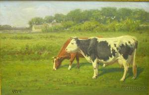 Framed Late 19thEarly 20th Century American School Oil on Canvas Cows in a Pastoral Landscape