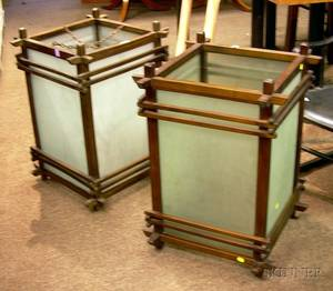 Pair of Large Japanesestyle Wood and Frosted Colorless Glass Lanterns
